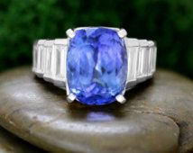 Tanzanite and Baguette Diamond 14k Solid White Gold Ring (Free Shipping)