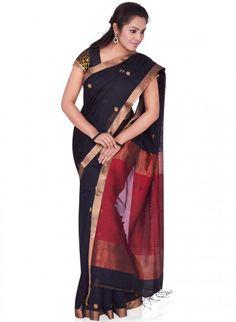Black and Red Tussar Matka Silk Jamdhani Woven Bengal Handloom Saree