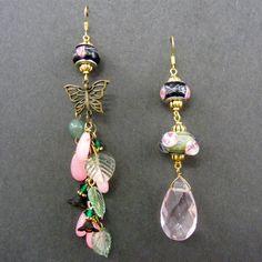 Lampwork and Gemstone Earrings by ArteViviente on Etsy, $21.00