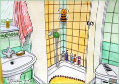 Bathroom _Naive perspective_sketch interier, watercolor paintings_Viktoriya Crichton_Ukraine Nikolaev