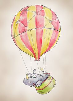 Hot Air Balloon Rhinoceros 8x10 Print of an Original Watercolor - in a series of 9 by Tara Neal of 'FlightsByNumber' on Etsy♥•♥•♥
