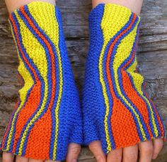 Bright-colored knit wrist warmers. Fingerless wool gloves. Unique wristlets for women - pinned by pin4etsy.com