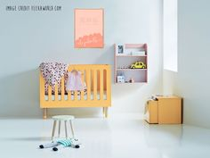 Custom name print nursery wall art 'Elizabeth' - Decorate your nursery with a custom name print from our collection. Featured here is a beautiful scandinavian creation - the danish designed Flexa play cot