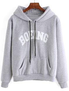 Grey Letter Print Pocket Drawstring Hooded Sweatshirt 15.79