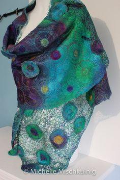 """Lily Pond Wrap"" from the Textile Art Gallery of Michelle Mischkulnig © 2015 - Australian Textile Artist via #chelletextiles ♥•♥•♥STUNNING♥•♥•♥"