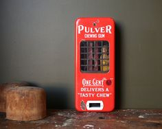 VINTAGE PORCELAIN PULVER GUM MACHINE In original condition, this very early Pulver chewing gum machine is a beautiful early piece of Americana. Vending Machines, Chewing Gum, Repurposed, Porcelain, Industrial, The Originals, Retro, Unique Jewelry, Handmade Gifts