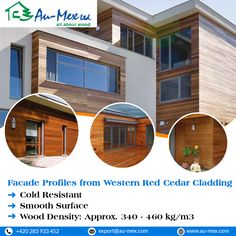 Western red cedar is highly preferred by architecture due to its anti-resistance property for humidity, decaying and insect proof. Wooden Cladding, Wooden Facade, Western Red Cedar Cladding, Save Energy, Mansions, Architecture, House Styles, Home Decor, Products
