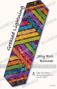 INTRODUCTORY SPECIAL...Greased Lightning Jelly Roll Runner sewing pattern by Tiger Lily Press