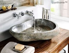 River stone vessel sink bathroom - natural in High quality rock made of natural stone. Unique Bathroom Sinks, Stone Bathroom Sink, Bathroom Shop, Modern Master Bathroom, Boho Bathroom, Bathroom Faucets, Amazing Bathrooms, Bathroom Ideas, Wood Sink