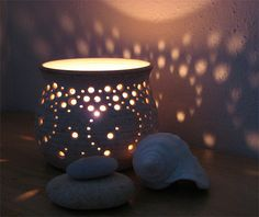 NEW Handmade Ceramic Luminary in Natural Speckled by NaomiAnita