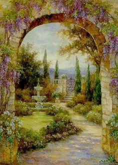 Lena Liu Paradise Fountain Limited Edition Art Prints Posters and Framing by… Garden Painting, Mural Painting, Garden Art, Landscape Art, Landscape Paintings, Belle Image Nature, Cottage Art, Poster Prints, Art Prints