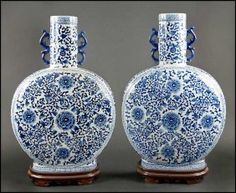 A Pair Of Chinese Blue And White Porcelain Bottle Form