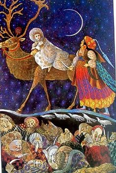 """""""Gerda And The Reindeer"""" Artist Errol Le Cain - Hans Christian Andersen -From """"The Snow Queen"""" Tale"""