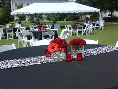 Black and White Outdoor Wedding Reception