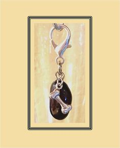 Black Onyx Dog Collar Charm, Pet Charm, Dog Bone Collar Charm, Dog Bling, Dog Jewelry, Pet Accessories, Gemstone Dog Collar Charm by RBeadDesigns