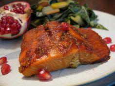 Pomegranite molasses glazed salmon