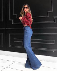 Wide Leg Trousers, Wide Leg Jeans, Denim Jeans, Blazer Dress, Pants Outfit, Bell Bottom Pants, Bell Bottoms, Friday Outfit, Casual Outfits
