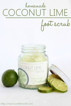 DIY Homemade coconut lime foot scrub! Every ingredient serves a purpose to heal and rejuvenate your feet. Free label printable included! Get those feet ready for back to school!
