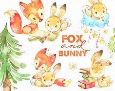 Fox and Bunny. Cute animal clipart, watercolor, friends, woodland, forest, books, floral, greeting, invite, babyshower, kids, spruce, fxbn