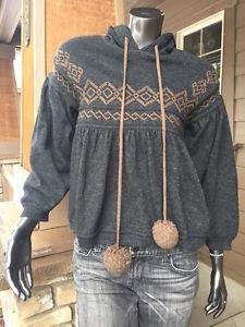 Diesel Sweater Hoodie $230 XS Wool Charcoal Grey Brown Pom Poms Mint   eBay