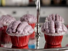 Red Velvet Brains Cupcakes : Bite-size brains cupcakes are the ultimate Halloween sweet treat.