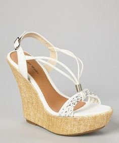 Another great find on #zulily! White & Straw V-Strap Wedge Sandal by TOP MODA #zulilyfinds