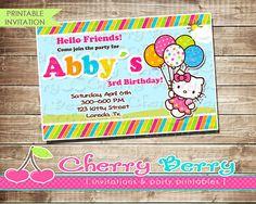 Hello Kitty Birthday Invitation  Digital by CherryBerryPrintable, $7.50
