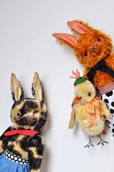Mohair dolls, heritage, rabbit, chick,  handmade. Jennifer Murphey