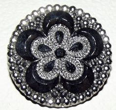 Large Victorian lustered black glass button
