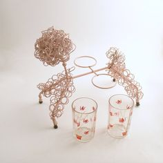 Vintage Glass Caddy Holder Vintage Pink Poodle by efinegifts
