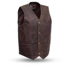 """The """"Texan"""" brown leather vest from First Classics comes with two deep concealed carry pockets. Classic style v-neck vest with brass snaps. Motorcycle Leather Vest, Biker Vest, Biker Leather, Cowhide Leather, Leather Men, Brown Leather, Concealed Carry, Texans, Classic Leather"""