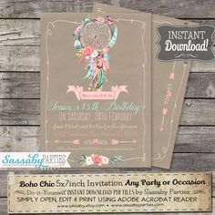 Boho Chic Invitation - Birthday or Baby - INSTANT DOWNLOAD - Editable