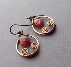 Handmade Copper Agate Artisan Earrings