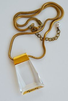 Rare Vintage 1970s GIVENCHY crystal prism pendant snake chain Necklace