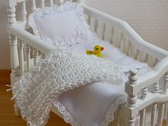 Dollhouse Miniature White Homemade Baby Crib by TheLittleEmptyNest
