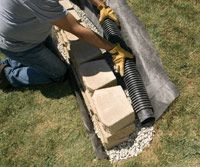 how to install drainage for retaining wall