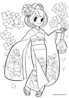 Anime coloring page of a girl in a kimono. Blank Coloring Pages, Printable Coloring Pages, Coloring Sheets, Coloring Books, Art Diy, Princess Coloring, Outline Drawings, Digi Stamps, Art Plastique