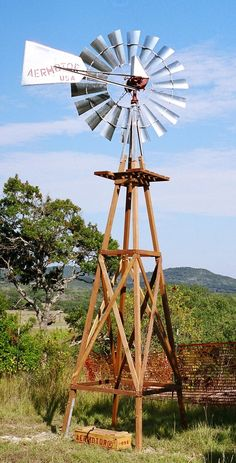 Aermotor Windmill Company Inc.- Economical Energy Wind Water Pump – Wooden Tower… Aermotor Windmill Company Inc. Wooden Windmill, Farm Windmill, Old Windmills, Westerns, Down On The Farm, Water Tower, Old Barns, Country Farm, Le Moulin