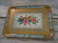 Vintage gold and aqua  italian florentine tole tray