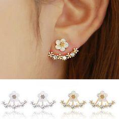 Ein paar Kristall Blumen Ohrringe