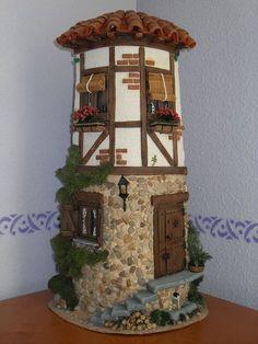 TEJAS DECORADAS   papeldecesta Clay Fairy House, Fairy Houses, Clay Houses, Miniature Houses, Decoupage, Clay Fairies, Tile Crafts, Ideias Diy, Clay Tiles