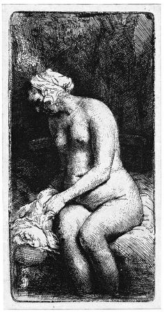 Rembrandt | Woman Bathing Her Feet At A Brook | Etching | B. 200 | In the 1630's, Rembrandt created a small group of prints and drawings of the female nude, studies from life in the classical style. In 1658, at the age of 52, he returned to the female nude concentrating on the dramatic use of light and shade.