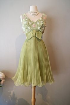 Vintage 1960s Miss Elliette Green Pleated Chiffon by xtabayvintage, $225.00