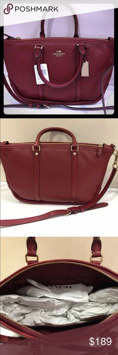 "Central Pebble Leather satchel bag NWT COACH 37154 CENTRAL PEBBLE LEATHER SATCHEL Bag  100% Authentic  COLOR: Light Gold/Black Cherry  - Style: 37154  chic little satchel-refined pebble leather with a remarkably soft hand.  Richly plated custom hardware gives it a signature Coach finish; the detachable strap adjusts.  Polished pebble leather  Inside zip, cell phone and multifunction pockets  Zip closure  Handles with 4 1/2"" drop  Long strap with 21"" drop for shoulder or crossbody wear  size…"