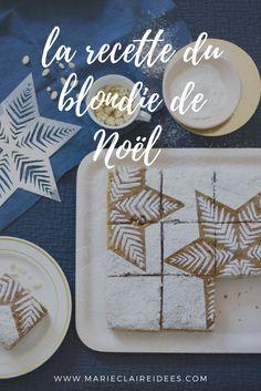 recette du blondie pour remplacer la bûche de Noël - Marie Claire Idées Christmas Time, Merry Christmas, Xmas, Food Dishes, Plates, Candy, Tableware, Nouvel An, Cook