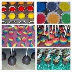 Rainbow cake pops. Rainbow Cake Pops, Cakes, Desserts, Food, Tailgate Desserts, Deserts, Cake Makers, Kuchen, Essen