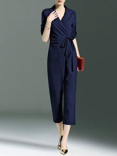 Dark Blue A-line Polyester Simple Jumpsuit