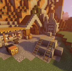 Casa Medieval Minecraft, Minecraft Farm, Mine Minecraft, Easy Minecraft Houses, Minecraft House Tutorials, Minecraft Plans, Minecraft Construction, Amazing Minecraft, Minecraft Tutorial