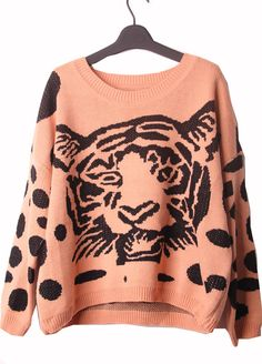 Tiger Print Oversized Knitted Sweater