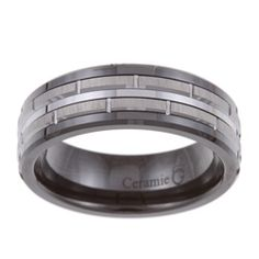 Men's Tungsten Black Ceramic and Band (7.5 mm) - Overstock™ Shopping - Big Discounts on Men's Rings
